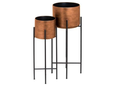 copper planters on stands | raised metal drum planters